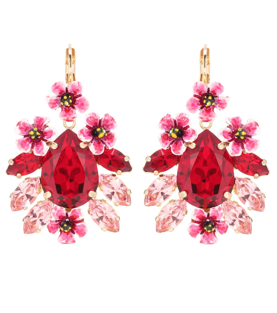 DOLCE & GABBANA Gold-Tone, Resin And Crystal Earrings, Red