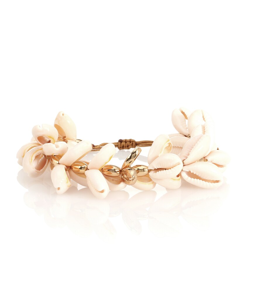 TOHUM DESIGN Puka 22Kt Gold-Plated Cowry Shell Bracelet in White