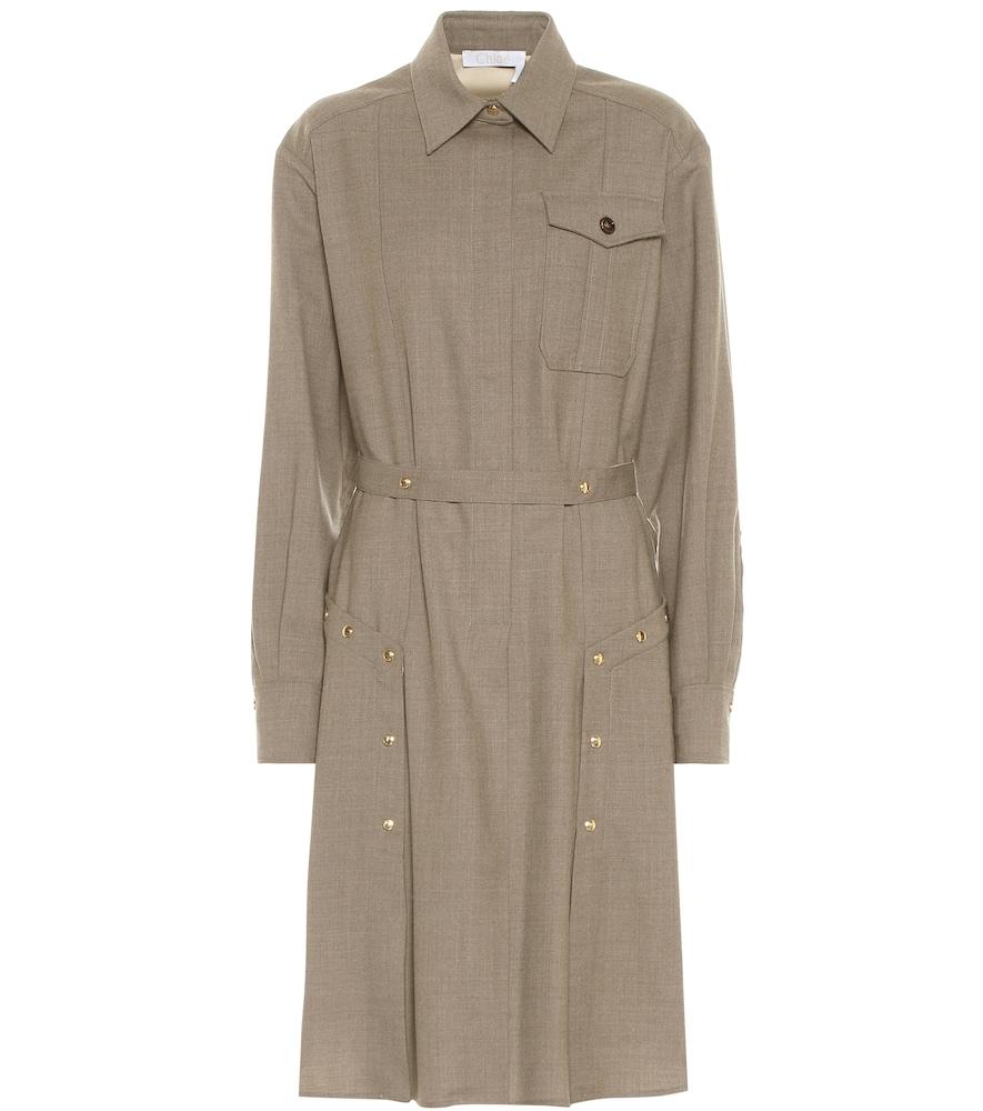Robe chemise en laine - Chloé - Modalova