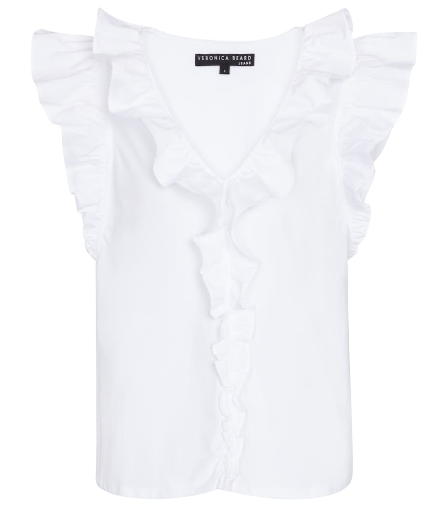 Veronica Beard Cottons STACIE RUFFLED STRETCH-COTTON TOP
