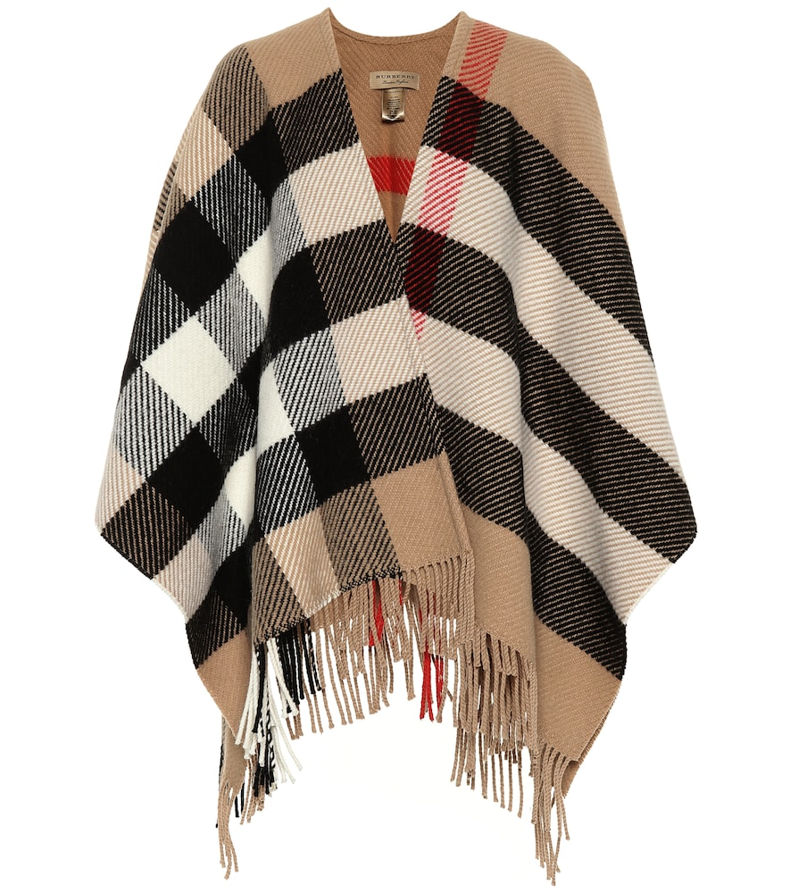 Burberry CHECK WOOL AND CASHMERE PONCHO
