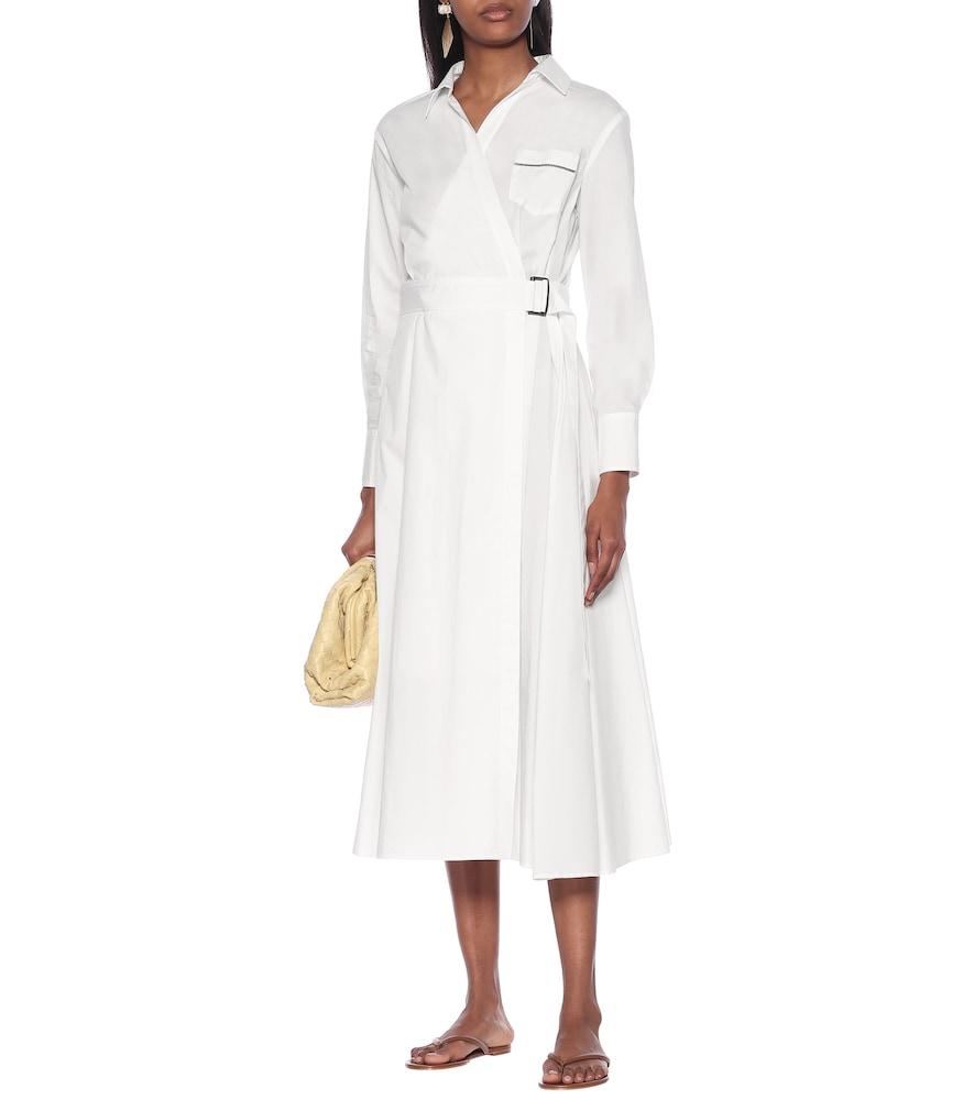 Cotton-poplin midi wrap dress by Brunello Cucinelli