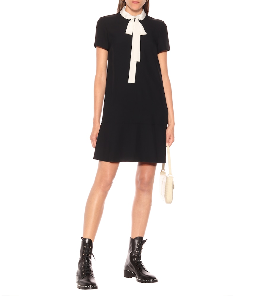 Tie-neck crêpe-envers minidress by REDValentino