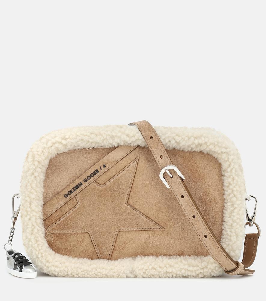 Star shearling-trimmed suede shoulder bag