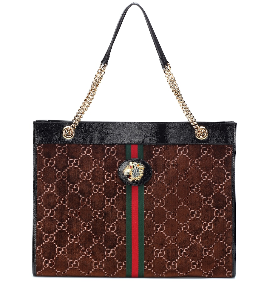 8f8dad5893 Gucci Rajah Gg Velvet And Leather Tote Bag In Brown | ModeSens
