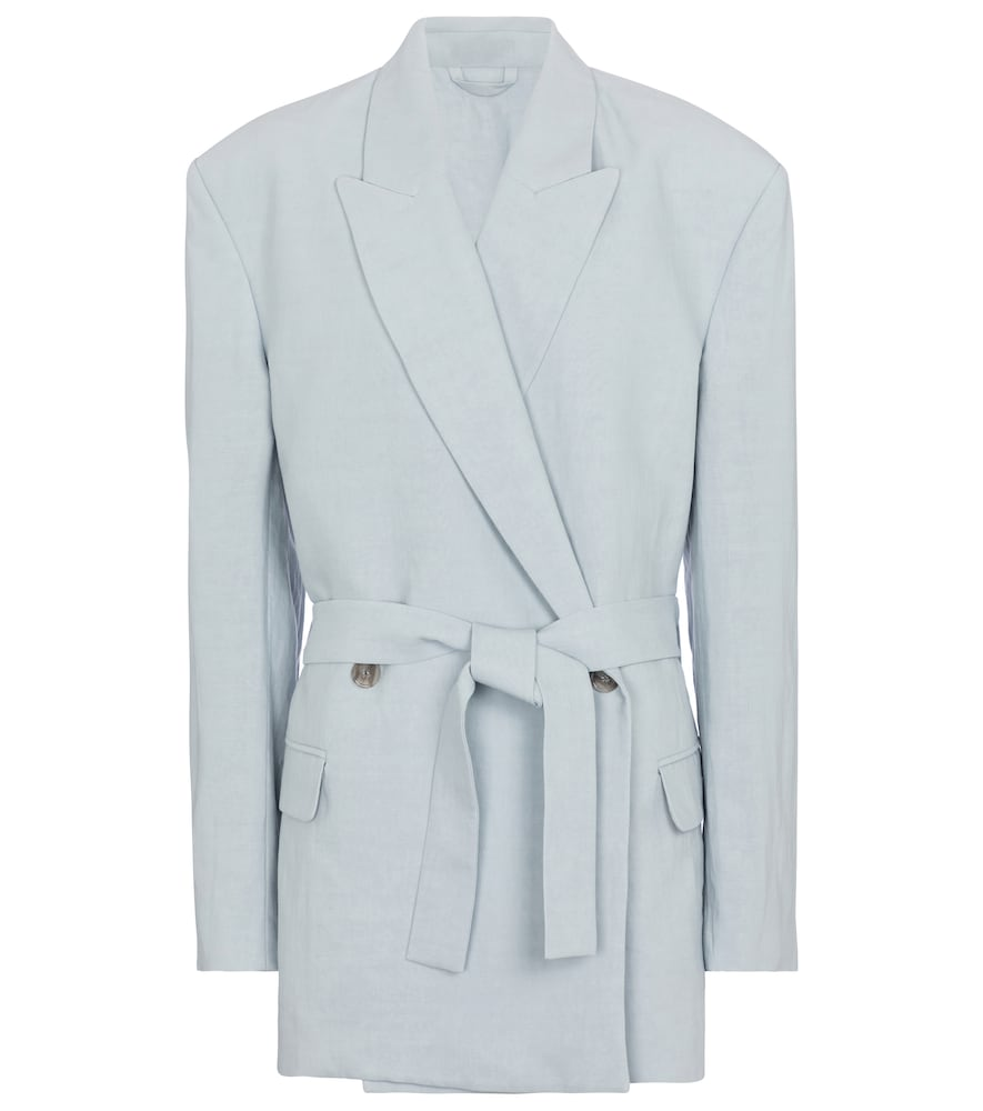 Acne Studios BELTED LINEN AND COTTON BLAZER