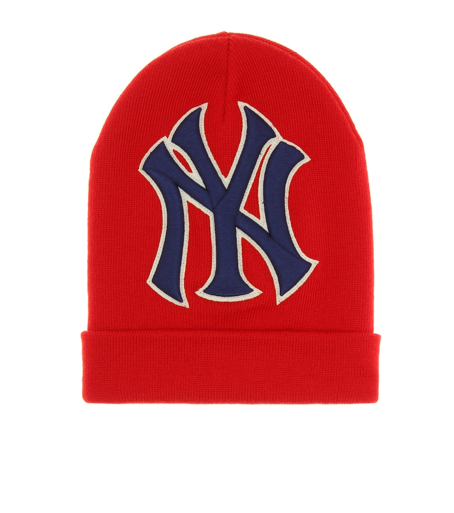 Gucci Men S New York Yankees Mlb Patch Beanie Hat In Red  fc0ee041118