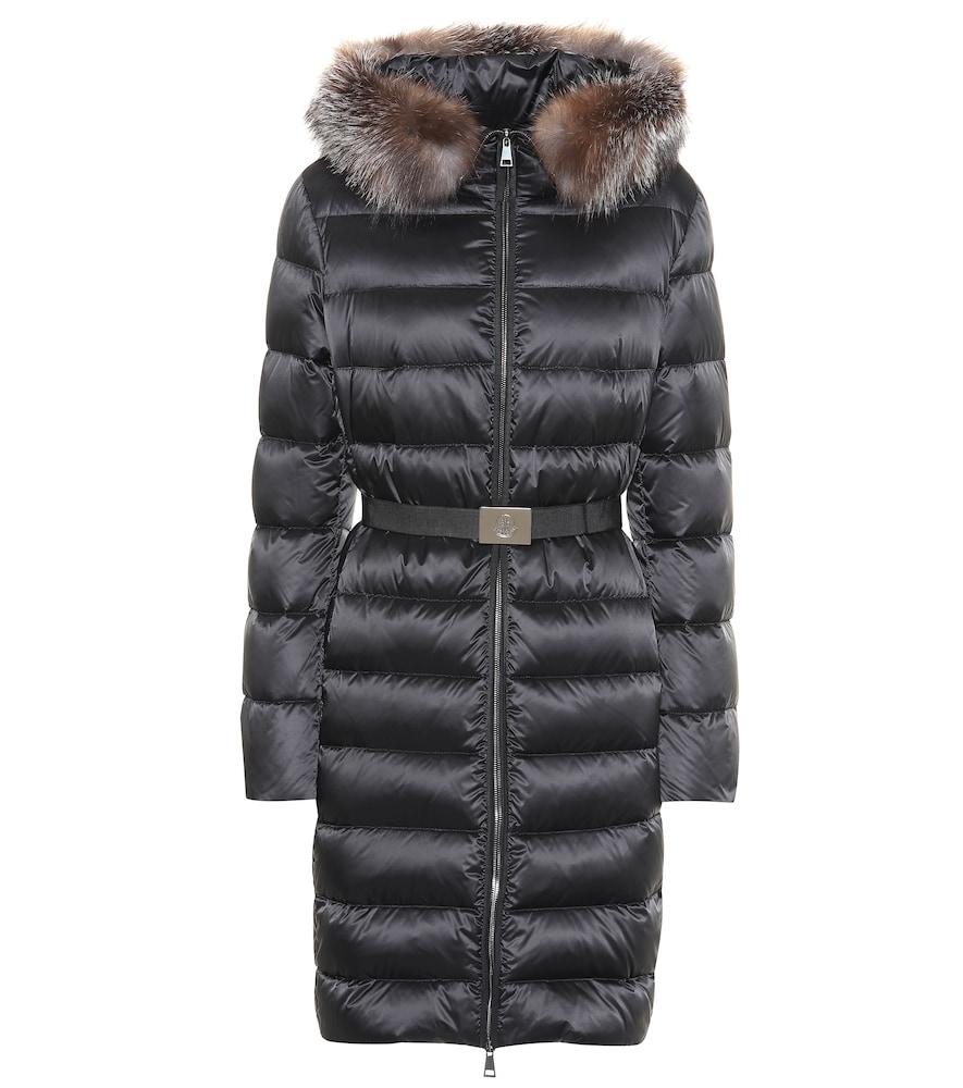 3fd9e831a Tinuv Fur-Trimmed Down Coat in Black