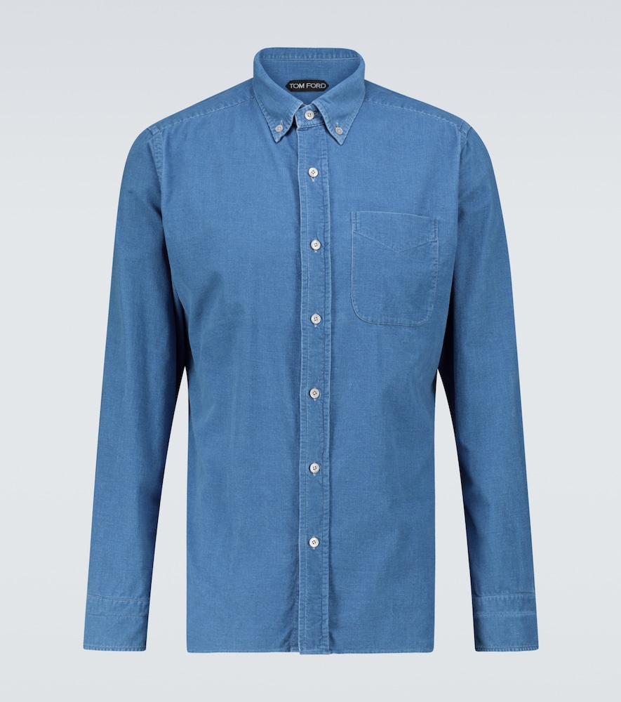 Tom Ford Slim-fit Button-down Collar Cotton-corduroy Shirt In Blue