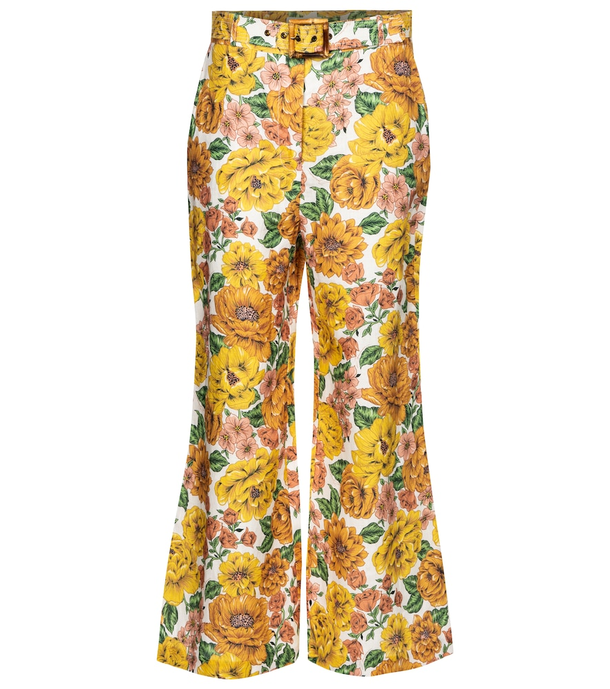 Zimmermann POPPY FLORAL LINEN FLARED PANTS