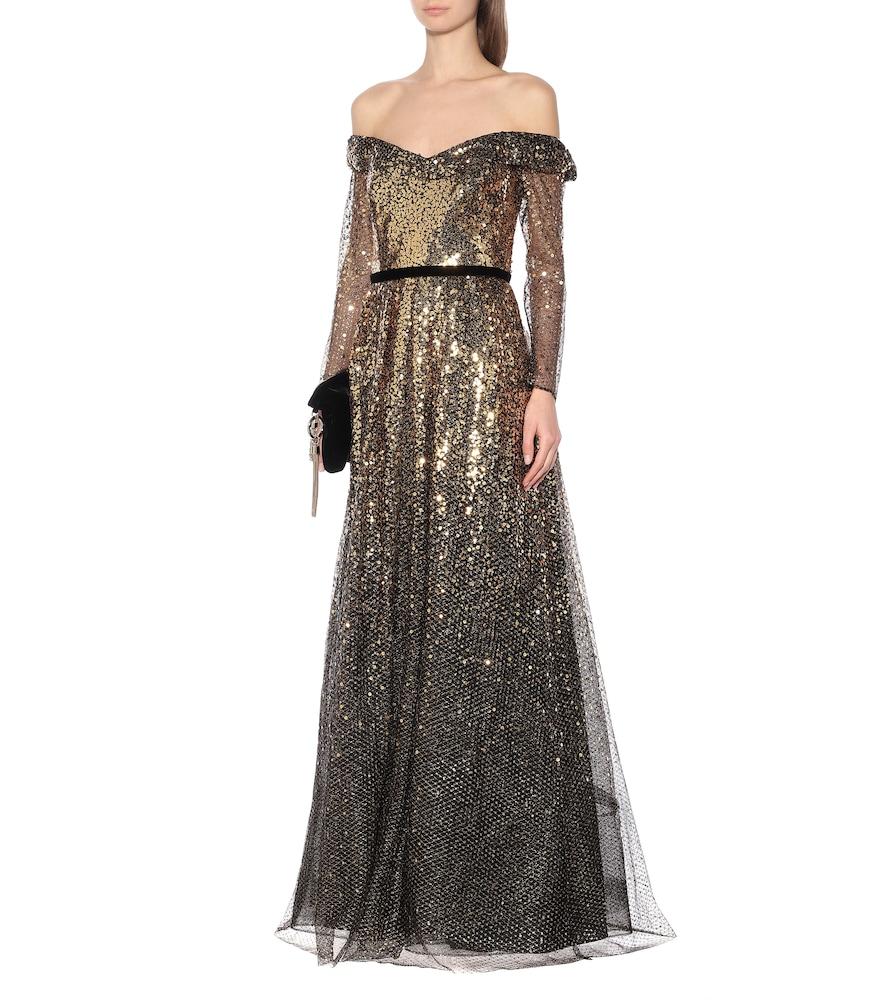 Off-the-shoulder sequined gown by Marchesa Notte