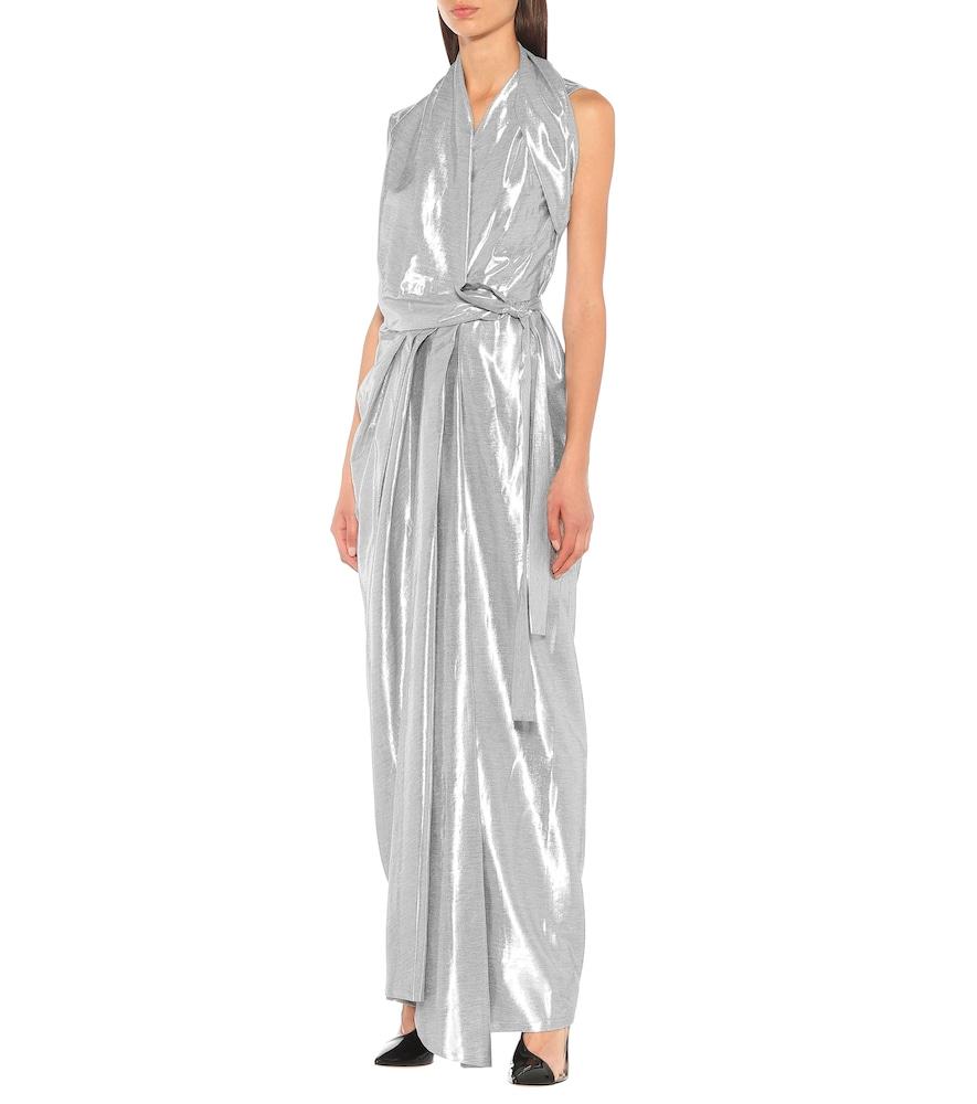 Metallic silk-blend midi dress by Rick Owens