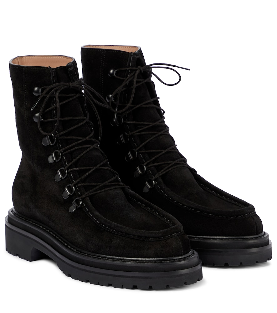 Lace-up suede ankle boots
