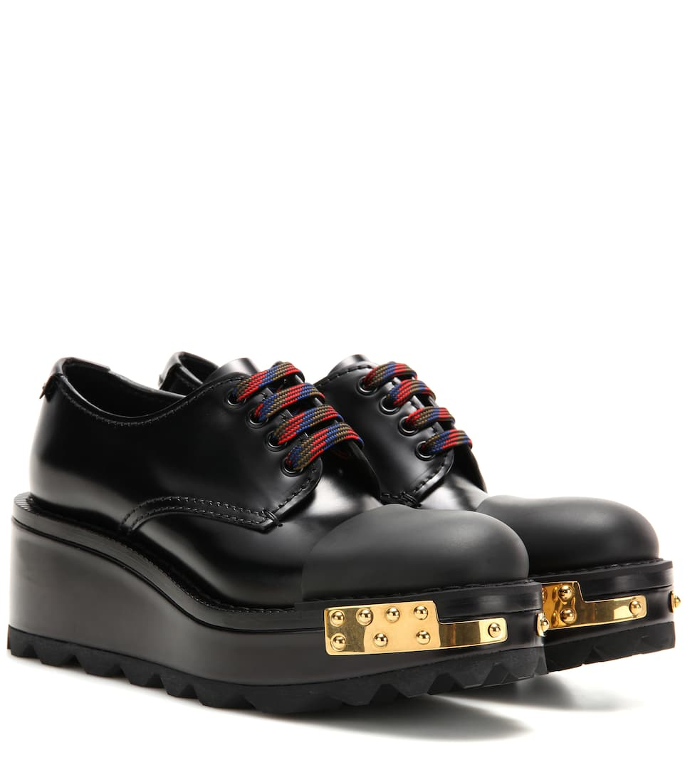 Prada Embellished leather Derby shoes