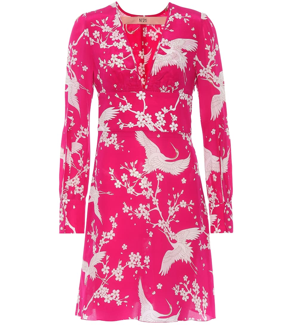 Donna Printed Silk Dress, Pink