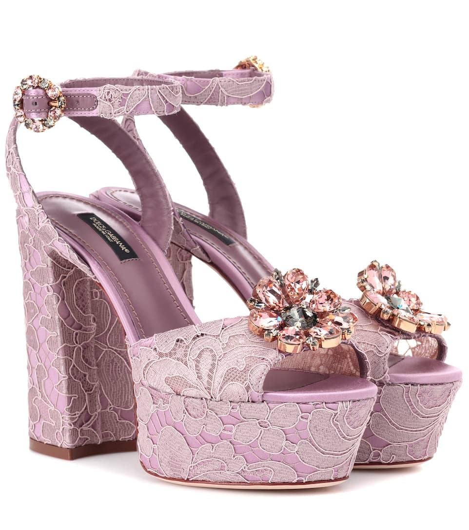 Sandals Mytheresa Embellished Lace Gabbana Dolce amp; v55Hqzw