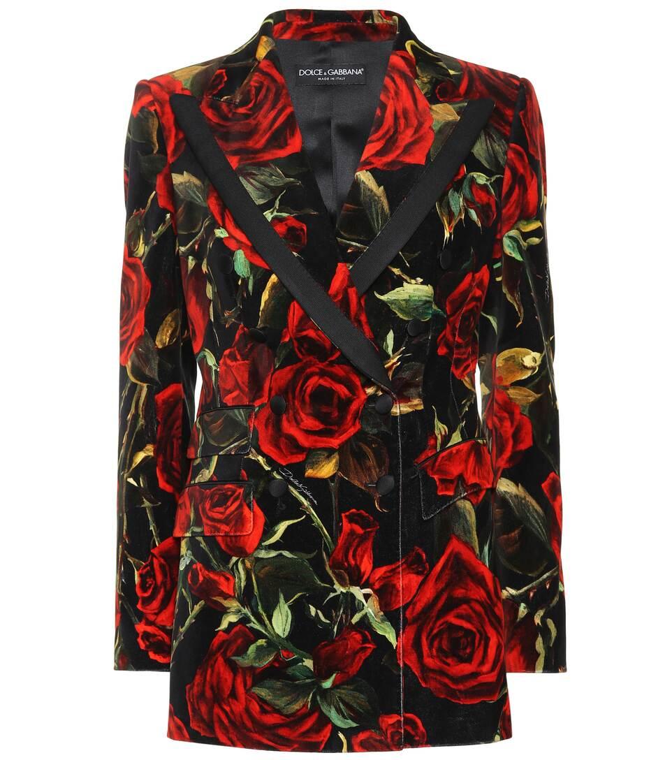 Rose Printed Velvet Blazer by Dolce & Gabbana