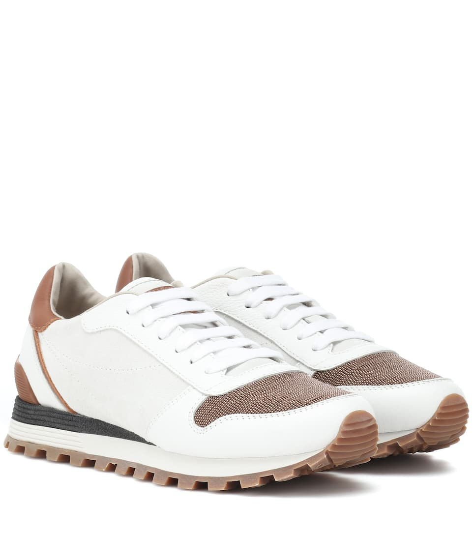 Suede And Leather Runner Sneakers in White