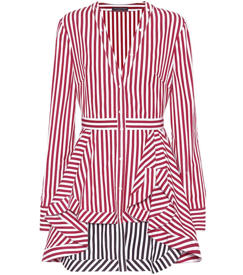 Alexander McQueen - Vestido corto de algodón de rayas   mytheresa.com