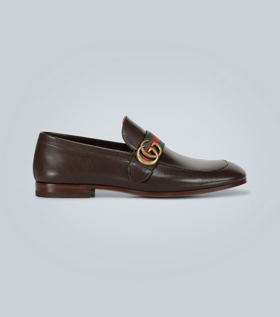 Gucci Leather Loafers With Gg Web In Brown Leather
