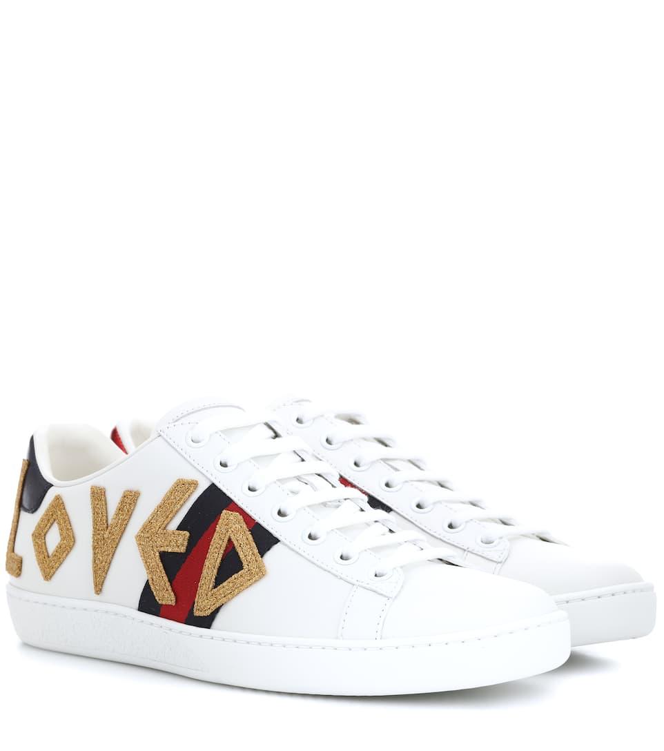 Gucci Verzierte Sneakers Ace aus Leder Kostenloser Versand 8WuSo1Jim8