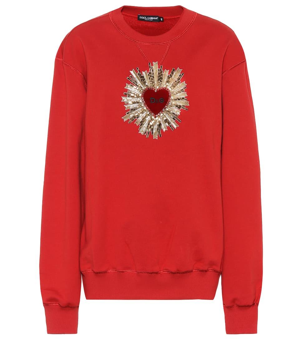 Chiaro Sudadera Bordeaux Dolce de algodón adornada amp; amp; Gabbana twaHn18fq