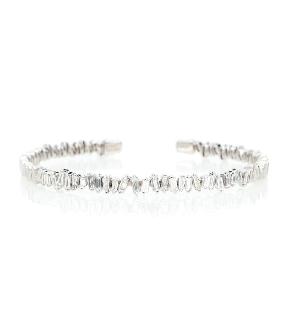 fireworks-18kt-white-gold-and-diamond-bangle by suzanne-kalan
