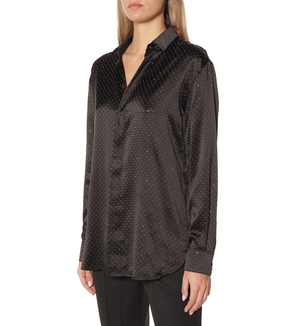 Saint Laurent - Embellished silk-satin shirt