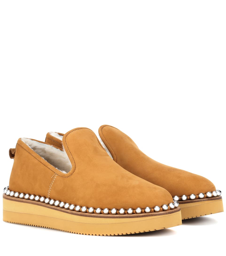 Tedi Shearling-Lined Slippers in Brown