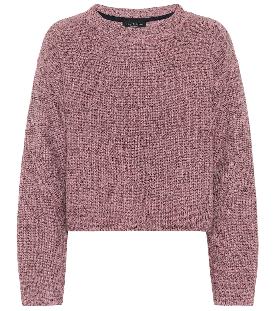 Rag & Bone Cropped Pullover Jubilee mit Metallic-Wolle