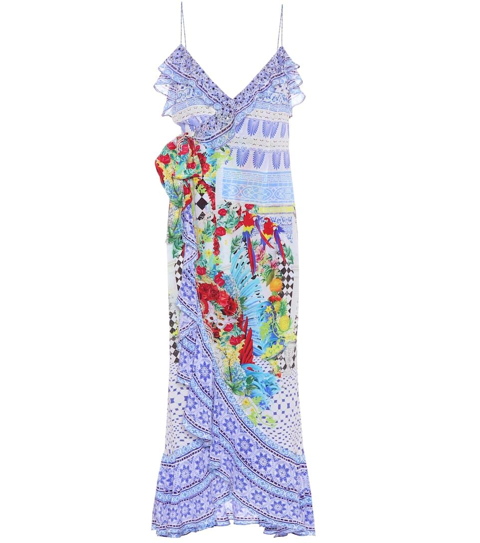 Auslass Manchester Großer Verkauf Auslass Finish Camilla Verziertes Wickelkleid aus Seide Aus Deutschland Online Pay Online Mit Visa W3ayMI2L6