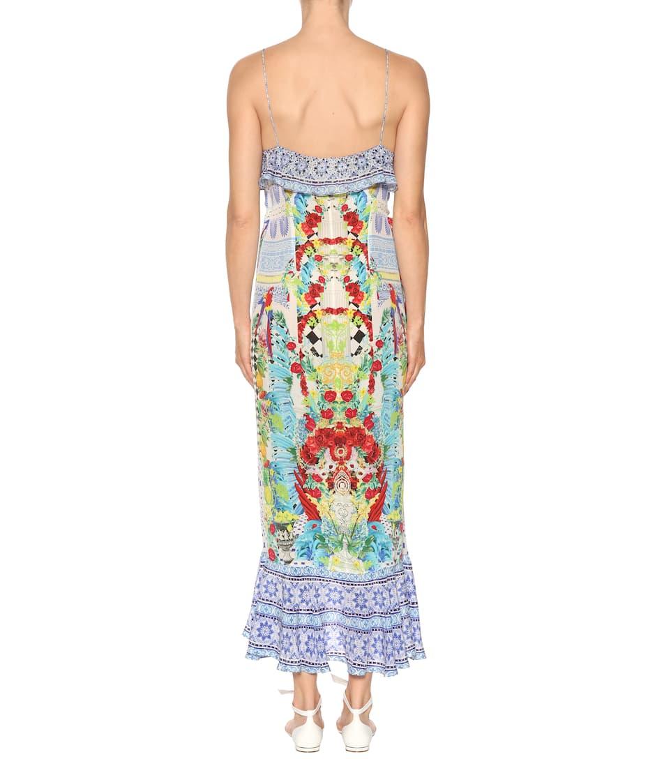 Camilla Verziertes Wickelkleid aus Seide