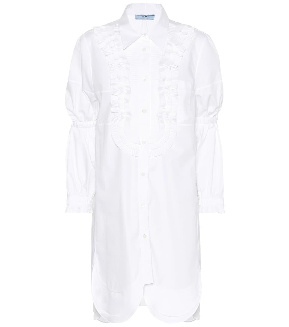 Prada Hemdblusenkleid aus Baumwolle mit Wellenkanten