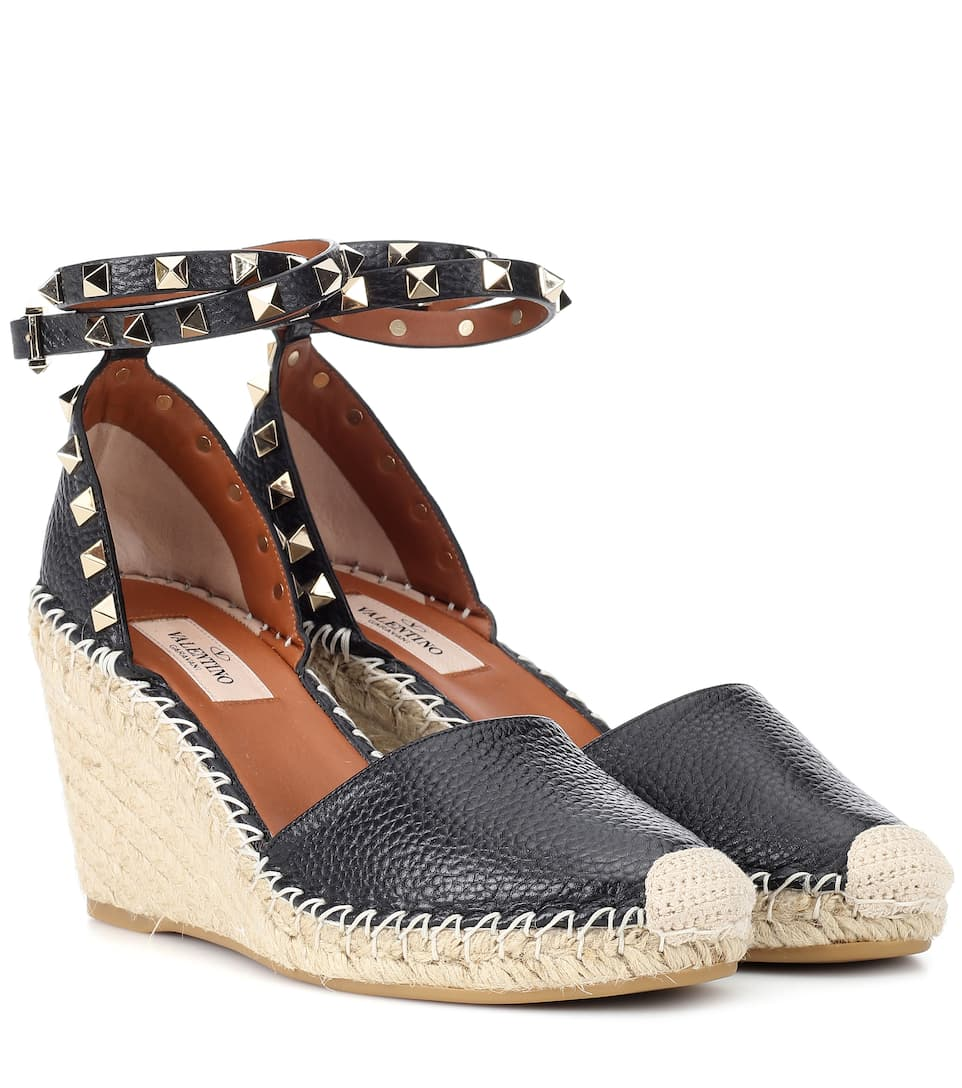 982f033bc67 VALENTINO ROCKSTUD DOUBLE LEATHER WEDGE ESPADRILLES