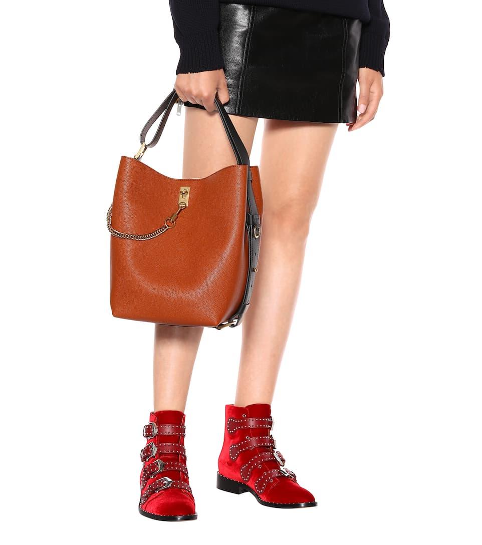 GV Castaño cuero de Givenchy cubo bolso ZOqqxY