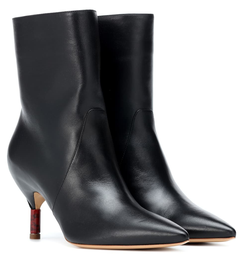 Mariana Leather Ankle Boots, Black