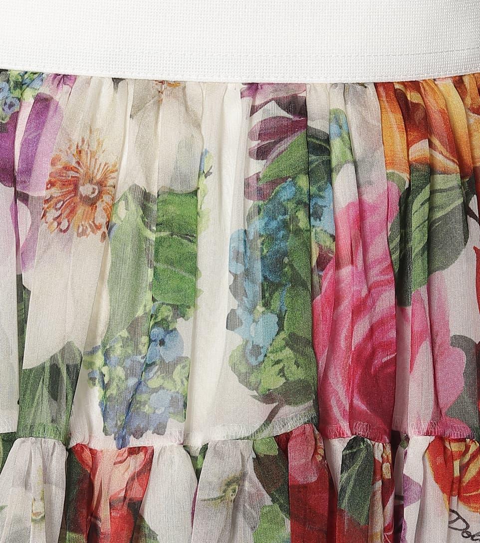 Dolce & Gabbana - Pleated floral silk midi skirt