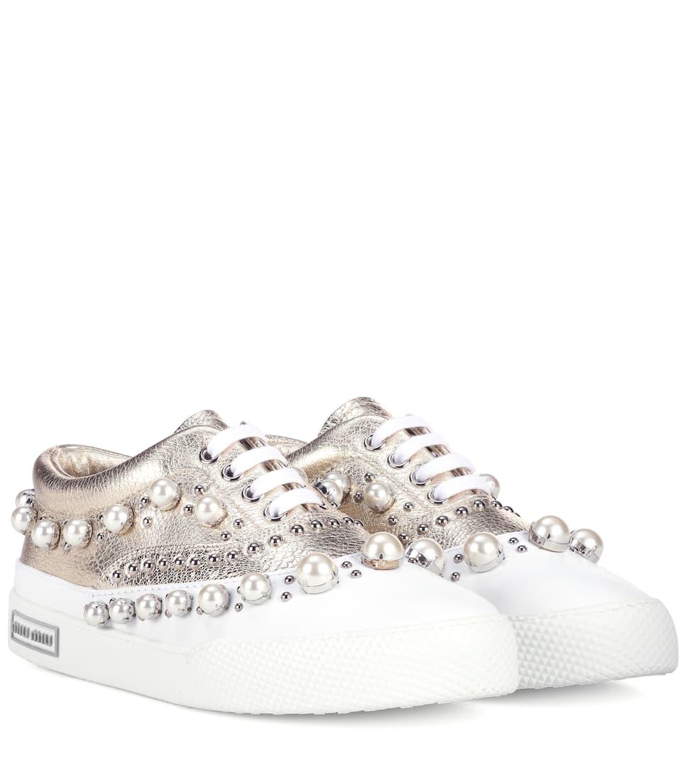 Mit Paypal Günstigem Preis Miu Miu Verzierte Sneakers aus Leder Zum Verkauf Preiswerten Realen Outlet-Store Classic Zum Verkauf m6P0qPu