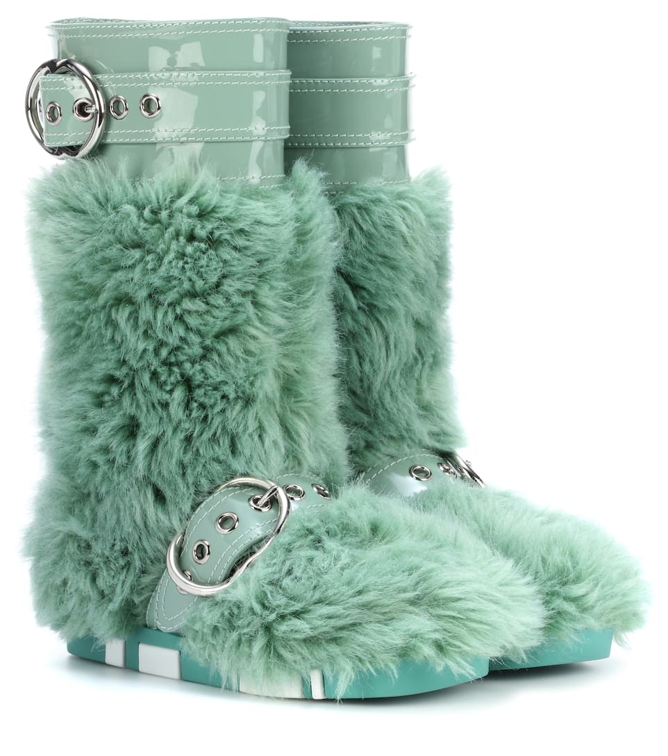 Miu Miu Eco Fur Leather Ankle Boots Qy9vq
