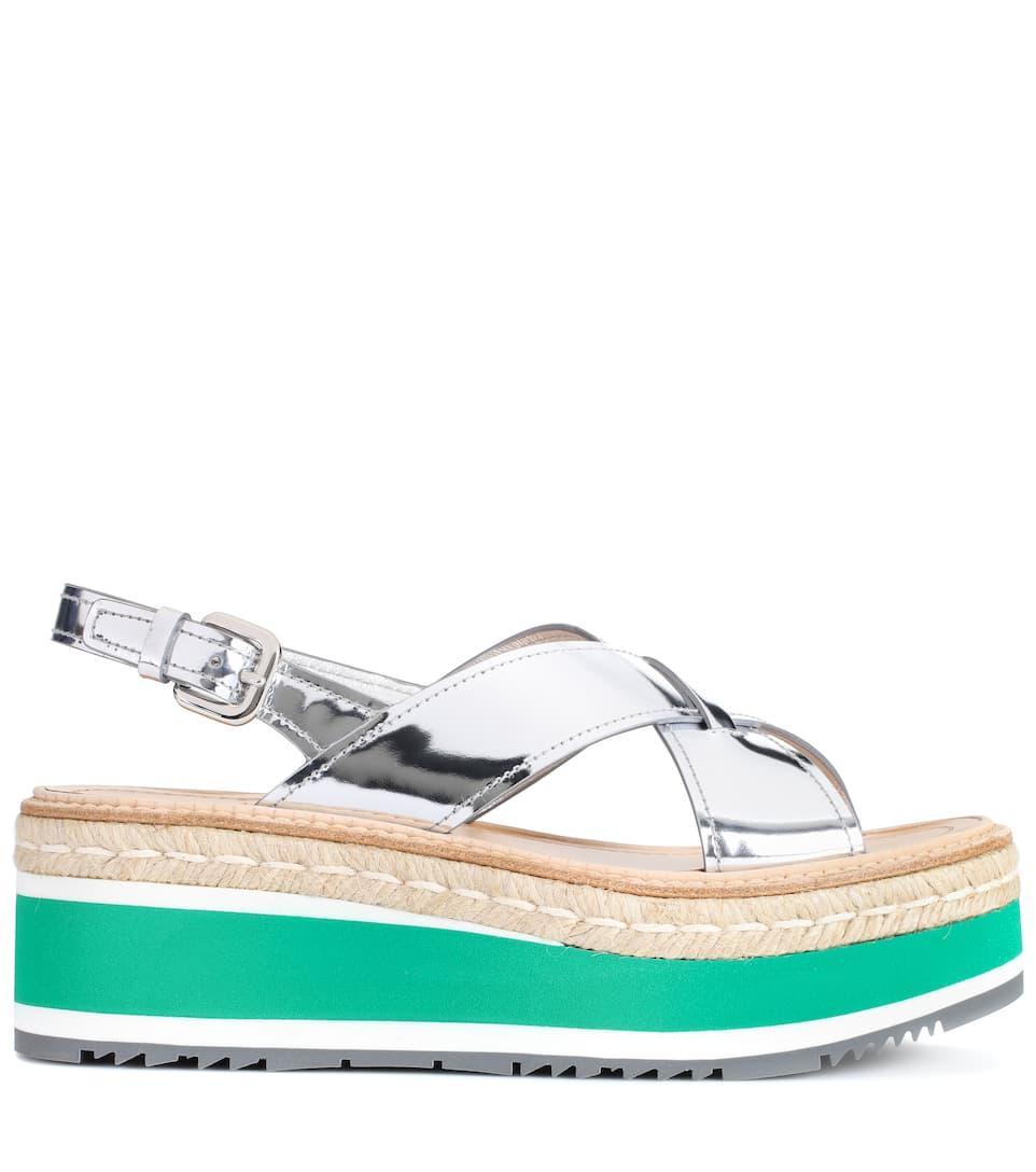 Prada Leather Platform Sandals, Argeeto
