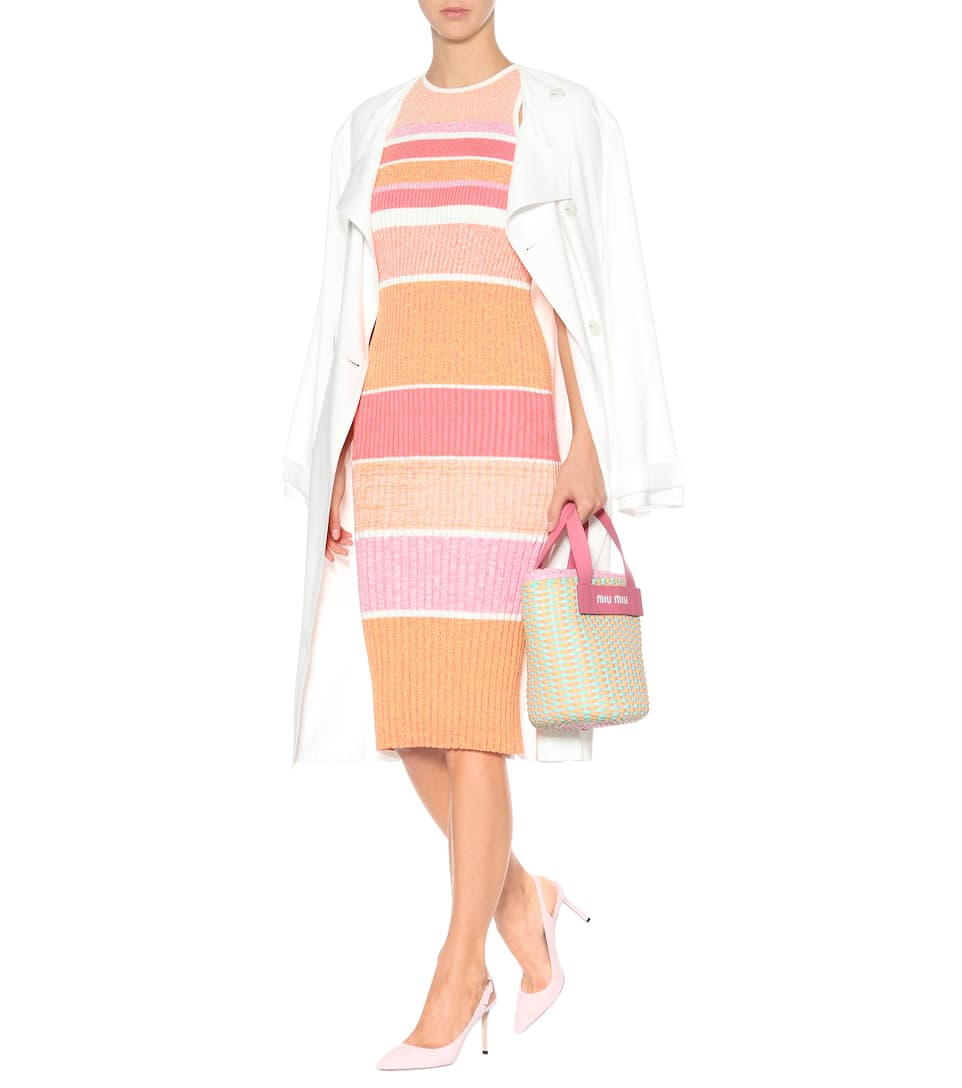 Victoria Victoria Beckham Striped knit midi dress Neon Coral Outlet In UK l7zKd7OYiH