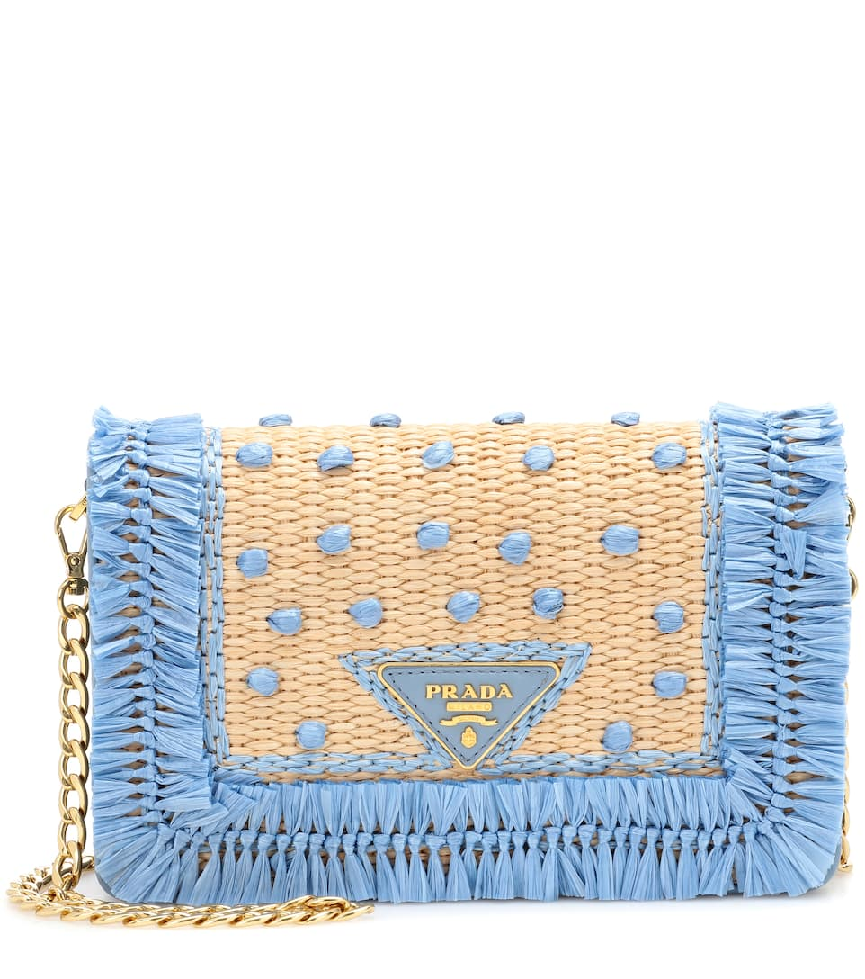 9d203b4abcad Leather And Raffia Shoulder Bag | Prada - mytheresa