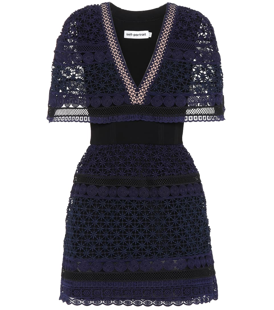 Self-Portrait Guipure lace mini-dress Navy Best Sale Cheap Price Sale Free Shipping Outlet Visa Payment Clearance Extremely a0czKfaP