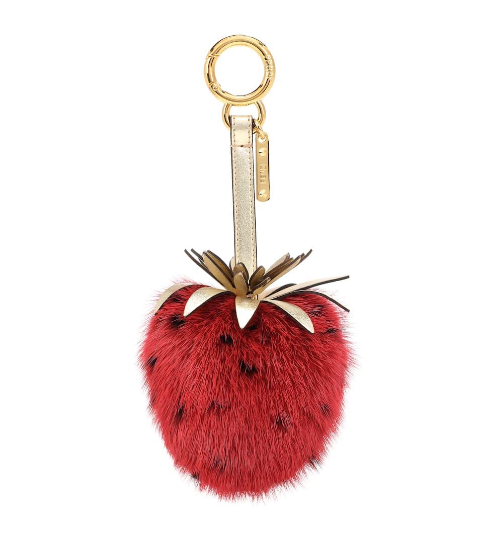 77c40f41dd34 Strawberry Mink Fur Bag Charm
