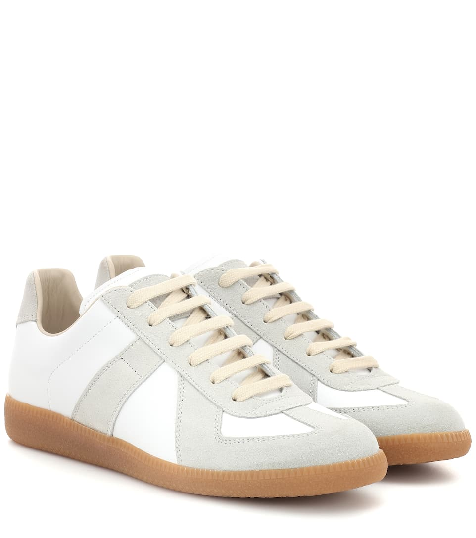 Replica Leather And Suede Sneakers