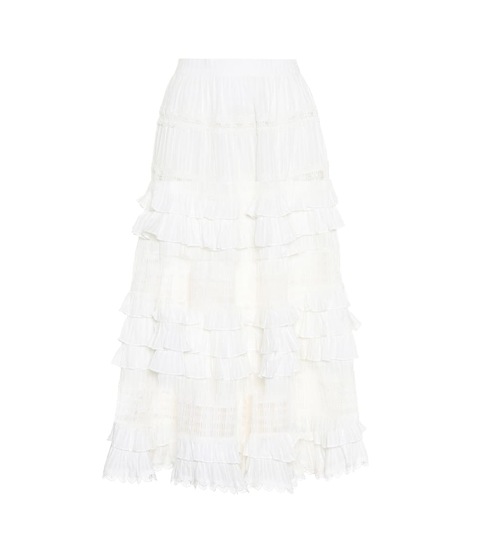 Carpenter Maxi Skirt Made Of Cotton With Volants