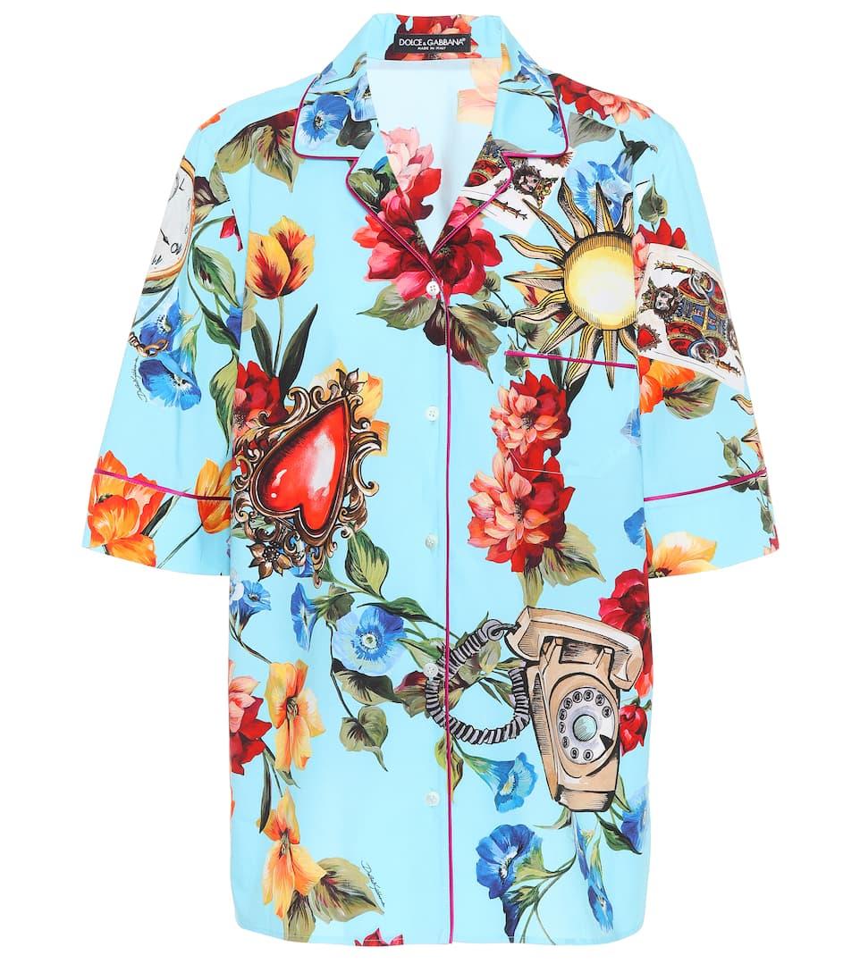 Dolce & Gabbana Bedrucktes Hemd aus Baumwolle und Seide