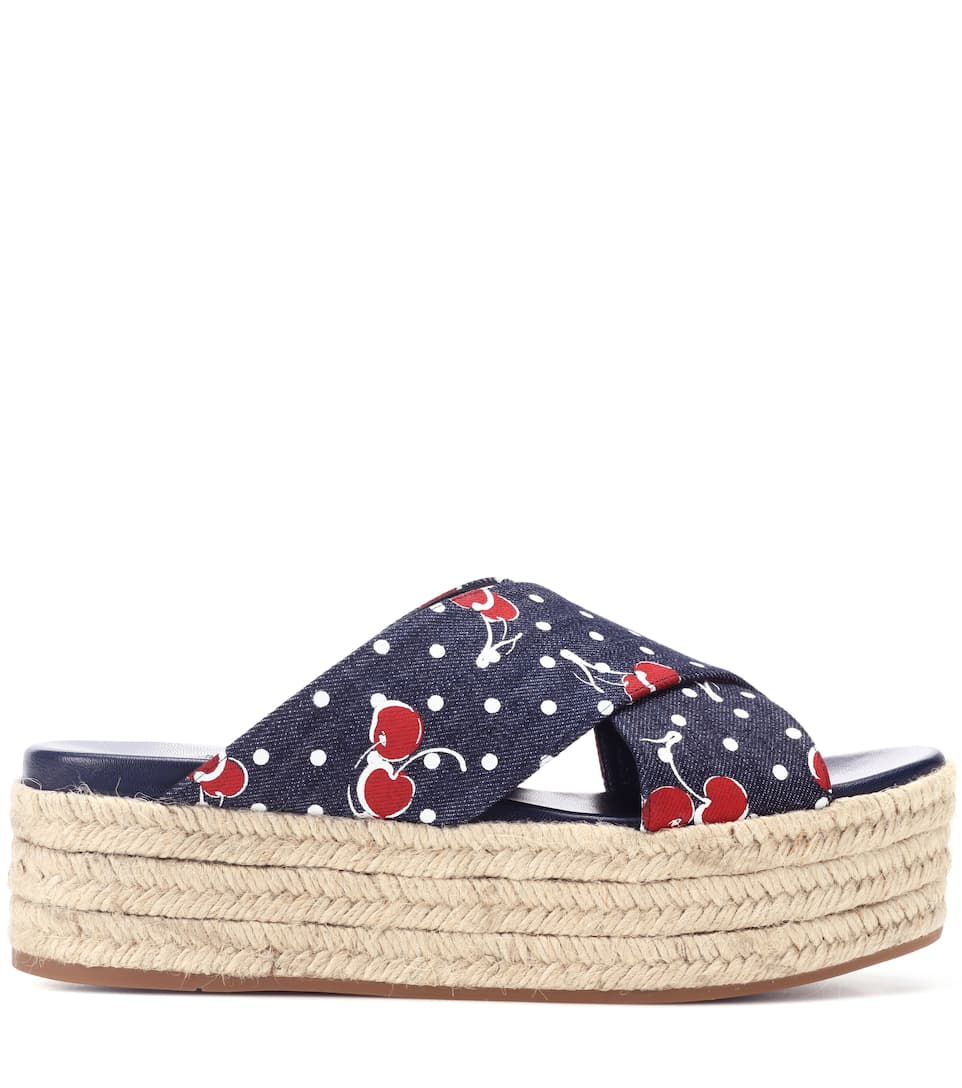 Miu Miu Espadrille Sandals Made Of Denim
