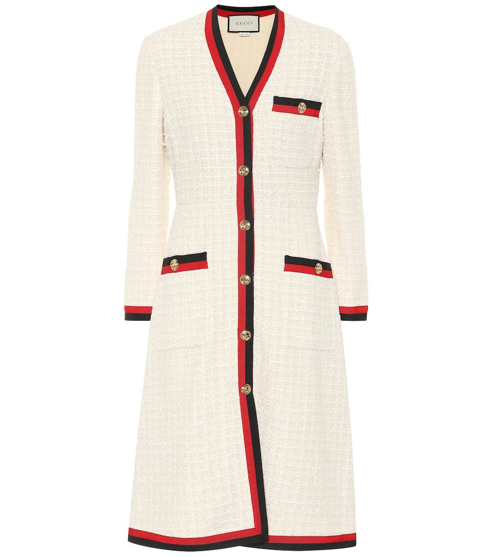 Cotton Blend Tweed Coat by Gucci
