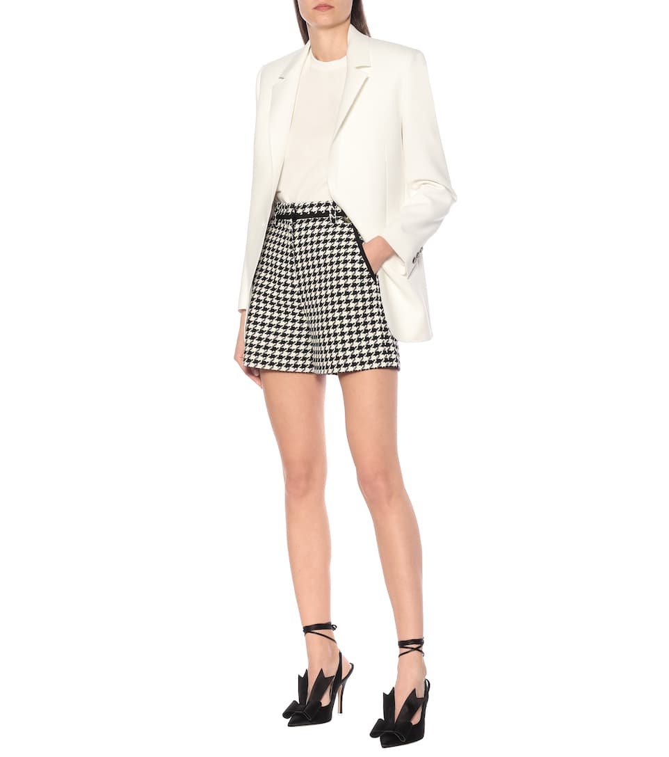 MSGM - Houndstooth cotton-blend shorts